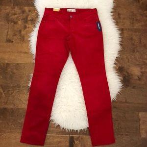 Old Navy Super Skinny Rockstar Red Cord Jeans 10